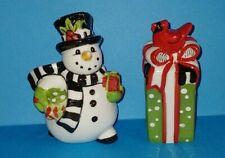 Fitz & Floyd Christmas Snowman & Gift With Bird Salt & Pepper Set