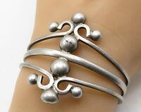 MEXICO 925 Sterling Silver - Vintage Large Art Deco Split Cuff Bracelet - B3968