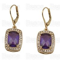 LEVERBACK square DROPPER EARRINGS crystal rhinestone SILVER/GOLD FASHION UK GIFT