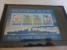 1973 Royal Naval Crests 5th Series Minature Sheet Um Stamps Ascension Island