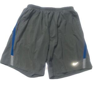 Nike Dri-fit Men's grey blue stripe athletic Shorts Large L pockets drawstring