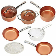 Copper Chef 9Pc Cookware Set Round Kitchenware Lids Pans Non-Stick Induction NEW