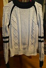 LL Bean Signature XS Fisherman Sweater Cream Black Stripes Cotton used excellent