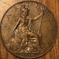 1924 UK GB GREAT BRITAIN ONE FARTHING