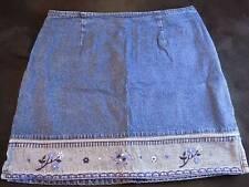 DENIM SKIRT ROUTE 66 Floral Hem Line Size 13/14 Blue Cotton Ladies Skirt