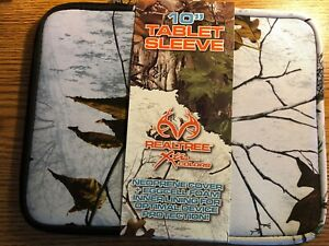 """Realtree Xtra Colors 10"""" Tablet iPad Sleeve Cover - White Neoprene Eggcell Foam"""