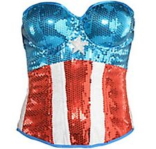 Captain America Civil War Captain America Sequin Dream Bustier Corset New PC M/L