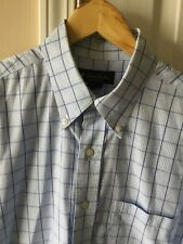 Brooks Brothers Men's Blue Checked Short Sleeve Button Front  Shirt Large