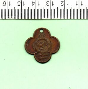 UNUSUAL ISLE OF MAN ROUNDED CROSS BRASS DOG LICENCE (2)