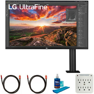 LG 32 Inch UltraFine Display Ergo 4K HDR10 Monitor with Cleaning Bundle