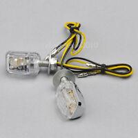 2x6 LED Motorcycle Dirt Bike Mini Turn Signal Light Indicator Blinker 12V Chrome