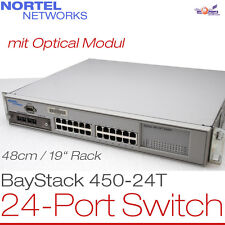 "48CM 19"" RACK 24-PORT NORTEL NETWORKS NETZWERK SWITCH BAYSTACK 450-24T +OPTICAL"