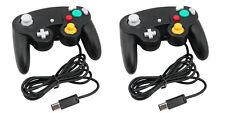 2 x nero WIRED CONTROLLER PER NINTENDO GAMECUBE GC e Wii Console CLASSIC JOYPAD