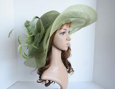 NEW Church Derby Wedding Sinamay w Big Flower Wide Brim Hat 2963 Lime Green
