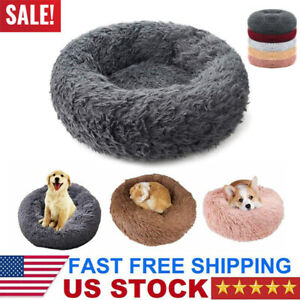 Donut Pet Dog Cat Calming Bed Ultra Warm Soft Long Plush Round Sleeping Bed USA