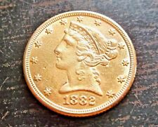 Nice 1882-S Gold $5 Liberty Head Half Eagle Coin 8.34 Grams