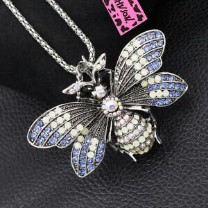 Betsey Johnson Cute Crystal Bee Honeybee Pendant Chain Necklace/Brooch Pin Gift