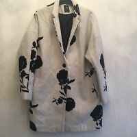 LADIES SIZE 10 OFF WHITE/BLACK 3/4 LENGTH JACKET TOWIE WINTER RRP £40
