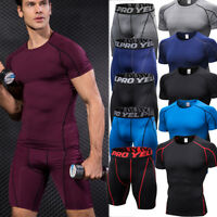 Mens Sports Athletic Outfits Compression wear Running Training Suits Gym Shorts