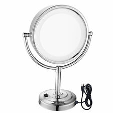 Gurun Chrome Vanity Lighted Dual Sided Tabletop Makeup Mirror 10X Magnifying