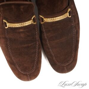 RARE Vintage Gucci Made in Italy Snuff Suede Gold Braided Bar Loafers 44 S NR