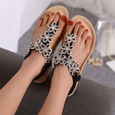Fashion Womens Crystal Flowers Thong Sandals Ladies Flat Flip Flops Sliers Shoes