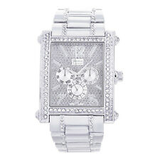 Techno Pave Men's Rapper Rectangle Iced Silver Plated Metal Watches WM 8898 S