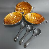 Ceramic leaf shaped bowls set of 3 with spoons
