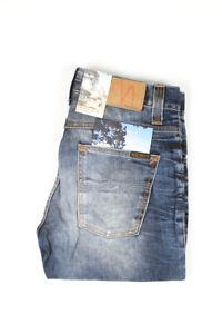31859 Nudie Jeans Grim Tim Used Blackcoated Bleu Hommes Jean Taille 30/32