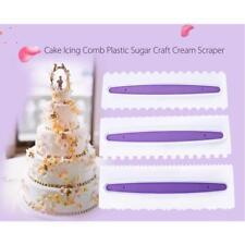 Pack 3 Cake Icing Comb Plastic Sugar Craft Cream Scrapers Baking Tool