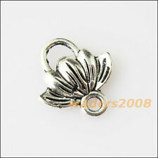 30 New Lotus Flower Connectors Tibetan Silver Tone Charms Pendants 11.5x12.5mm