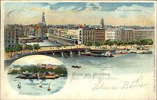 Hamburg Schiffe Alster Litho-AK 1904 nach Wittmund als Bedarfspost gelaufene AK