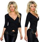 TOP SEXY HAUT T-SHIRT FEMME NOIR COL V EFFET CROISE MANCHES 3/4 T.34/36/38