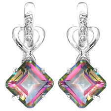 UNIQUE 8ct Genuine Rainbow Topaz Earrings Hoop Solid 925 Sterling Silver