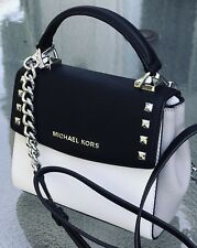NEW MICHAEL KORS KARLA MINI CONVERTIBLE BLACK WHITE LEATHER CROSSBODY BAG