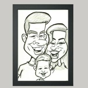 3 Person Caricature From Photo B/W A3 - Hand Drawn Cartoon - Personalised