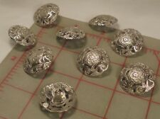 5 Fine Italian Metal Shank Buttons Flowing Floral Filigree Large Silver 1""