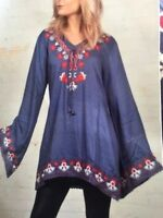 Soho Chic Med Large Embroidered Bell Sleeved Dress Top Boho Hippie 100% Cotton