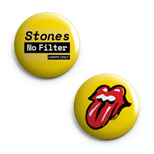 """Set of 2 - Rolling Stones 2017 Europe Tour - 25mm (1"""") Pin Button Badges - Band"""