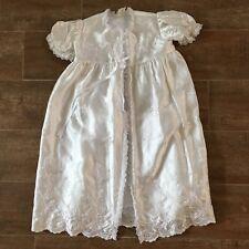 S Antique Christening gown white robe satin vintage victorian reborn doll