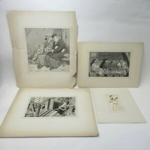 4x Art Prints by Thos. A. Godfrey Portraits Various Styles Card Mounted Lot F