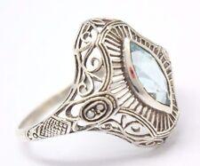 Ring Blau Topas & Saat Perlen Sterling Silber  925 ANTIK STYLE  Gr 57