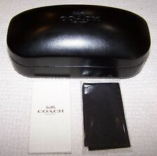 Coach Leather Hardshell Sunglasses Case w/Cleaning Cloth BLACK ~ NEW