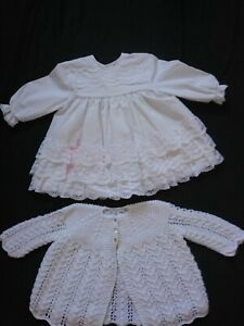 """VINTAGE 80'S WHITE&PALE PINK FRILLY BABY DRESS 14""""&HAND KNITTED MATINEE JACKET"""