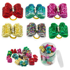 20/100pcs Dog Hair Bows Rubber Bands Bling Grooming Headdress Accessory Topknot