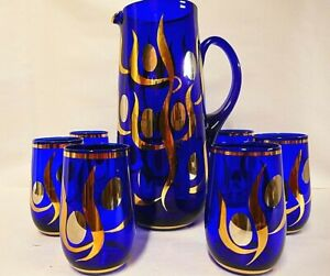 Classy hand-blown vintage cobalt blue water jug and 6 glasses with hand gilding