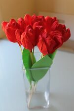 A BOUQUET OF HANDMADE CREPE PAPER TULIPS - RED