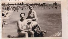 1959 RARE Nude man in briefs with wife woman beach gay int Russian Soviet photo