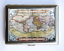 1572 World Map Cigarette Case Wallet Business Card Holder id case atlas map