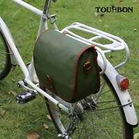 Tourbon Waterproof Canvas Bike Rear Pack Handlebar Bag Tablet Shoulder Pannier